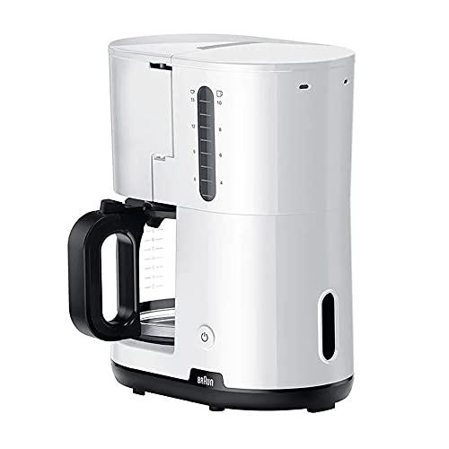 Braun Hogar Breakfast1 Cafetera de Filtro, AromaCafe, Sistema OptiBrew, Apagado Automático, Cafetera hasta 10 Tazas, Jarra de Vidrio Apta para el Lavavajillas, 1000W, Blanco, KF1100WH