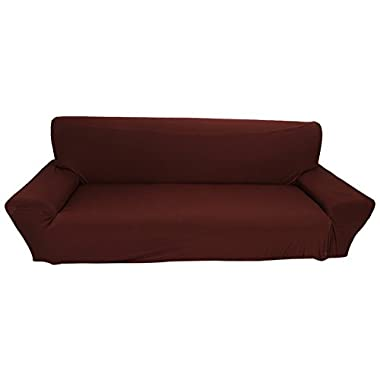 Elastic Anti Wrinkle Couch Covers,Solid Color Stylish Sofa Slipcover 1- 4 Seat Soft Lightweight Slip Resistant Sofa Furniture Protector Cover Fit Many Popular Sofas (3Seat=75 , Coffee)