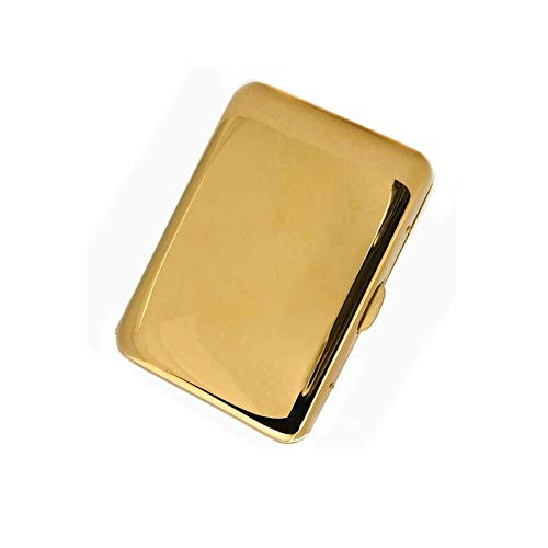 LONGWDS Zigarrenetui. Zigaretten-Etui, Gold Spiegel 16-Stück Kupfer Personalisierte Metall Zigarettenetui, Männer Zigaretten-Etui, Qualität Gute Laune, Good Life