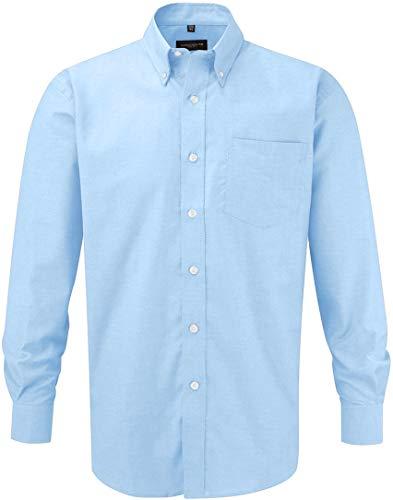 Russell Collection Hemd, Oxford, langarm, Große Größe, Herren, Pflegeleichtes Langarm Oxford Hemd, Bleu - Oxford-Blau