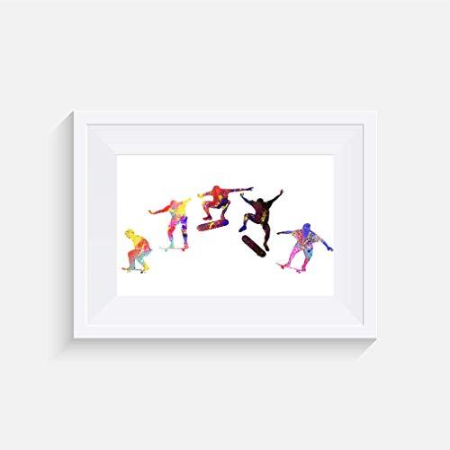 Skateboard Kickflip Inspirier - Drucken - Poster - Aquarell - Wandkunst- verschiedene Größen(Rahmen Nicht Inbegriffen)