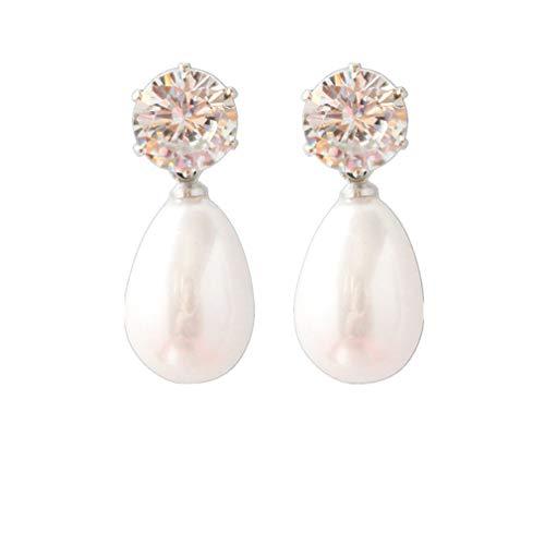 Weisin Pendientes de perlas en forma de lágrima para boda, fiesta, diamantes...