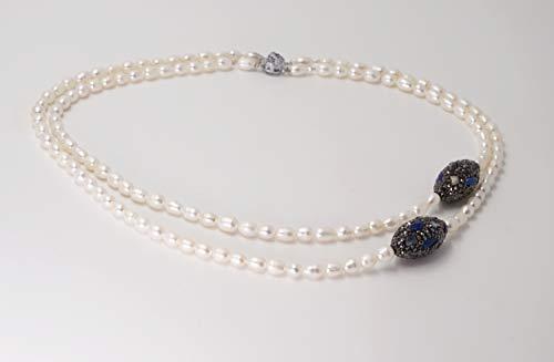 mehrrehige Perlenkette asymmetrisch mit Lapislazuli und Markasitsteinchen