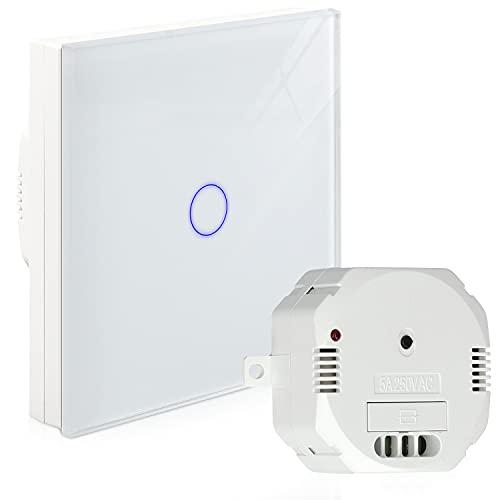 Navaris Transmisor inalámbrico de luz - Interruptor y receptor de pared táctil - Conmutador blanco para control remoto - Con material de montaje