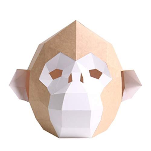 YHX Sombrero de Mono Dorado Creativo, mscara de Animal de Mono, Accesorios de Rendimiento de Actividad de Corte Libre de Bricolaje Hechos a Mano