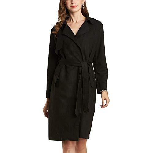 NOBLEMOON Damen Mantel mit Gürtel, Langer Winter Trenchcoat, leichtem Mäntel, dünner Herbst Frühling Frauen Mantel aus Kunstleder Wildlederimitat, taillierter Mantel für Damen