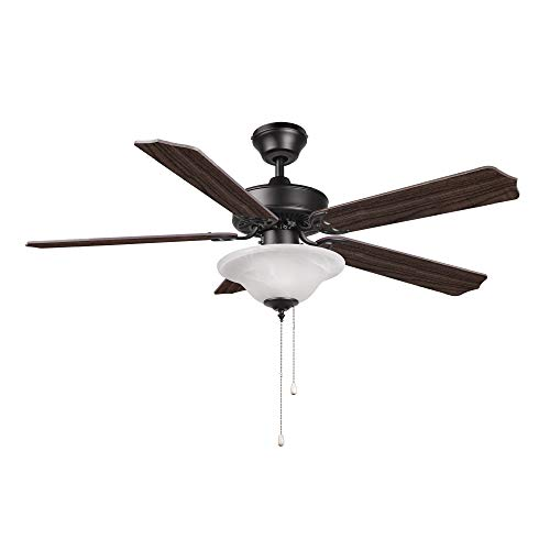 Hyperikon 52 Inch Ceiling Fan, 60W, Remote Control and Pull Chain, Black Fixture, 5 Blades, Frosted Dome Light E12 Screwbase, Walnut