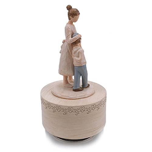 ZHFYY Muttertag Geschenk Geburtstag Urlaub Geschenk Familie Schlafzimmer Büro Studio Dekoration Ornamente rotierende Spieluhr MotherwithlittleBoy