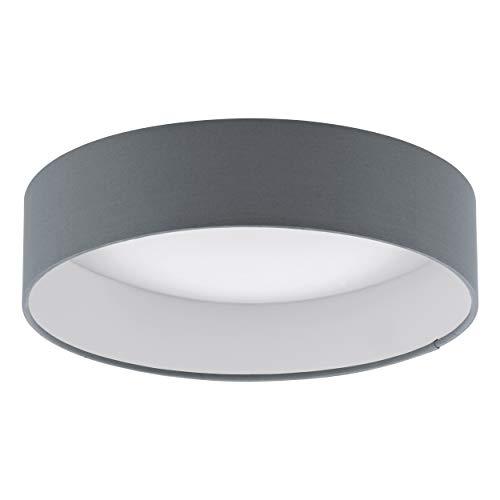 EGLO LED Deckenlampe Palomaro, Deckenleuchte Stoff, Wohnzimmerlampe aus Textil, Kunststoff, Farbe: anthrazit, weiß, Ø: 32 cm