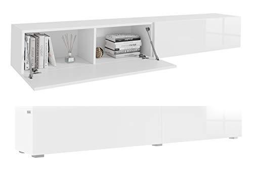 PLATAN ROOM Fernsehschrank TV-Lowboard 210 cm In Weiß Hängend Oder Stehend Hochglanz Matt (210 (2x105) x 30 x 32, Weiß Matt/Weiß Hochglanz)
