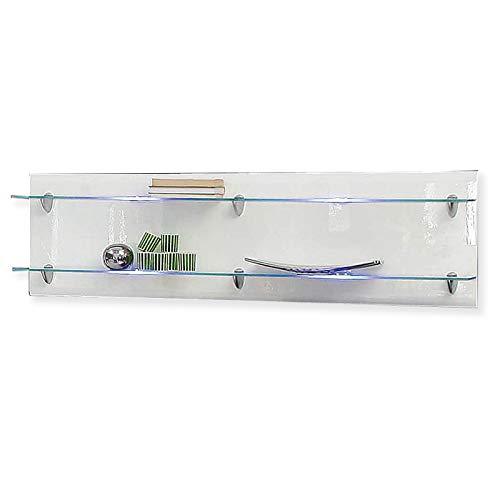 ROLLER Wandregal - weiß Hochglanz - Glas - 140 cm
