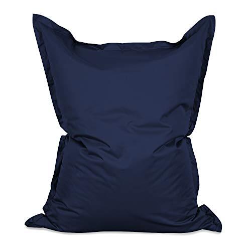 Lumaland Grand Pouf Chaise de XXL de Jeux - pour intérieur et extérieur - Le Salon, Jardin ou Chambre - Coussin avec Housse Lavable en Machine 380L 140 x 180 cm - Bleu Marine