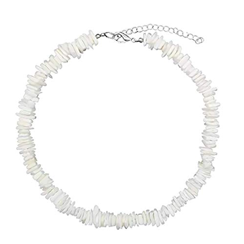 Templom SIX Puka Shell Necklace Handmade Clam Chips Puka Shell Beach Choker Necklace White Sea Shell Necklace Hawaiian Beach Jewelry