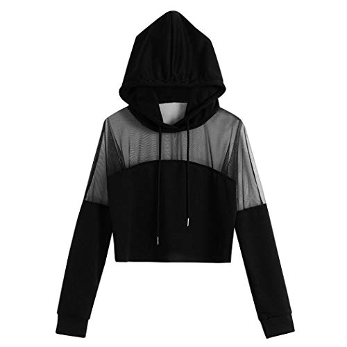 Longra Damen Transparent Mesh Hoodie Sweatshirt Jacke mit Kapuzen Mode Damen Cropped Patchwork Pullover Kapuzenpullover Kapuzenpulli Tops Bluse Frauen Schöne Sport Pullover Langarmshirt (S, Schwarz)