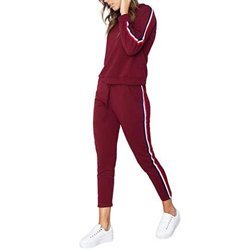 Jogginganzüge für Damen, 2-teilig, langärmelig, Jogginganzug, Jogginganzug, Set für Damen, T-Shirt + Hose, mittlere Taille, Fitness, Workout, Freizeitkleidung, Anzug Outfits Gr. Large, weinrot