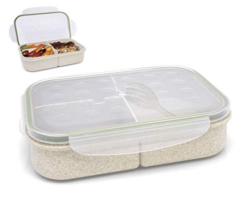 Granny's Kitchen Bento en Paille de Blé - Lunch Box Ecologique avec Fourchette et Couvercle - Boîte Repas avec 3 Compartiments Étanches - Beige & Marron