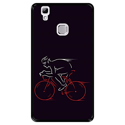 Hapdey Funda Negra para [ Doogee X5 MAX - X5 MAX Pro ] diseño [ Atleta, Ciclista en Bicicleta ] Carcasa Silicona Flexible TPU