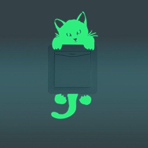 Feskin 3 Stück Katzen Leuchtaufkleber für Lichtschalter oder Steckdose, Wandaufkleber Fluoreszierend und im Dunkeln Leuchtend für Kinderzimmer und Babyzimmer
