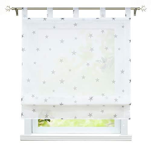 ESLIR Raffrollo mit Schlaufen Gardinen Küche Raffgardinen Voile Transparent Schlaufenrollo Modern Vorhänge mit Sterne Muster Grau BxH 60x140cm 1 Stück