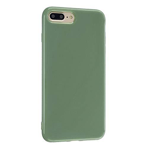 CrazyLemon Hülle für iPhone 7 Plus iPhone 8 Plus, Niedlich Volltonfarbe Gelee Design Weich Silikon Slim Handyhülle Stoßfest Schutzhülle - Erbsengrün