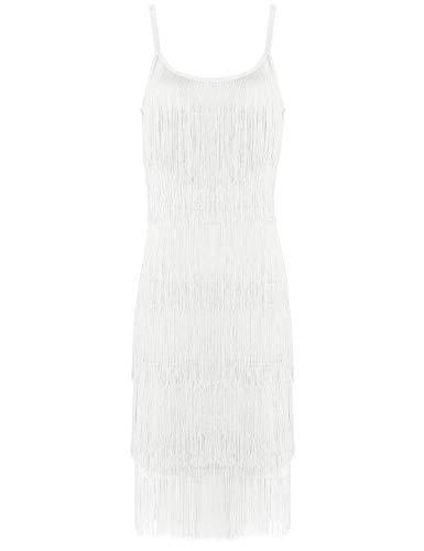 Agoky Vestido de Danza Latina Borlas para Mujer Vestido de Baile Salsa Flecos Traje de Rumba Samba Baile de Salón Vestido Fiesta Cóctel Disfraz Blanco XX-Large
