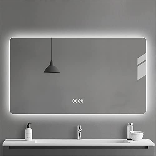 YYHAD Espejo baño, Rectangular LED Baño Espejo Iluminación Desforgación, Baño LED LED Smart Makeup Mirror, Doble Touch Dimmable + Tiempo Temperatura + Lupa, 60x80cm,Espejo de Maquillaje