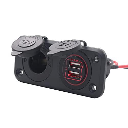 Montloxs 5V 4.8A Panel de interruptor de cargador de coche con doble USB 2 puertos Luz roja Toma de encendedor de cigarrillos a prueba de agua 12V 24V Alimentación Cable de alimentación de 1 metro