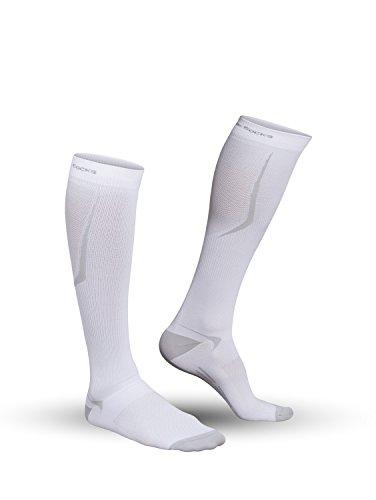 Strammer Max atmungsaktive Funktionssocken - Kompressionsstufe 2, Compression Socks Sports Line für Männer (hochwertiges Emana Gewebe), Farbe: Weiss