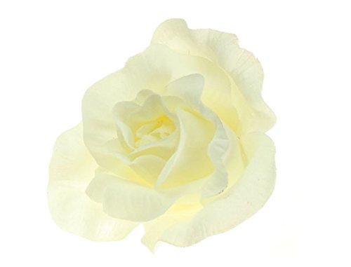 Ivory Cream Large Pastel Fabric Carmen Flower Rose Flamenco Dancer Hair Clip Slide