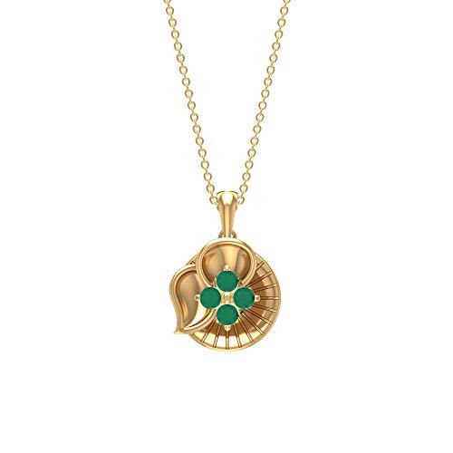 Rosec Jewels 10 quilates oro amarillo redonda Green Ónice verde