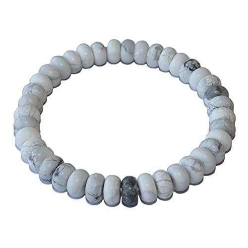 YELVQI Hermosa 6 8 mm Pulsera de Piedra Natural Chakra Yoga Tigre Ojos Águidos Lapis Lazuli Pulseras con Cuentas de Piedra para Mujeres Hombres (Color : White Turquoises, Size : 6MM)