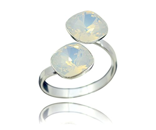 Crystals & Stones, anello da donna in argento 925, doppio quadrato con Swarovski Elements, misura regolabile e argento, colore: Bianco opale, cod. 7