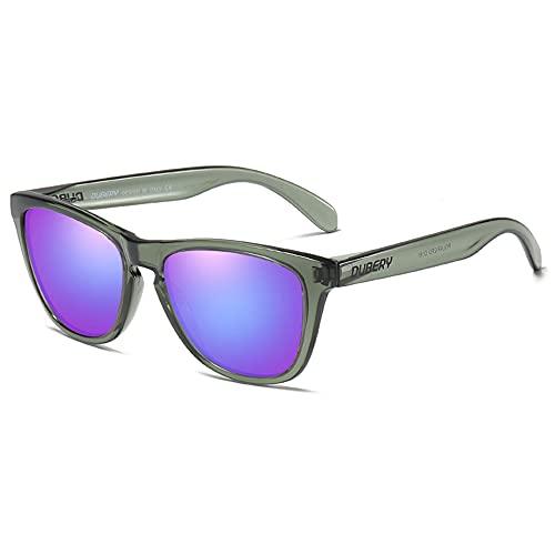 DUBERY Gafas de sol polarizadas para hombres y mujeres deporte Dirving Pesca Gafas de sol protección UV400, Marco gris-lente de espejo púrpura, Talla única
