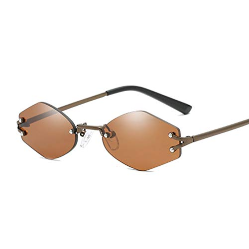 YUHANGH Vintage randlose Designer sechseckige Sonnenbrille Frauen Männer Retro Fahrspiegel Sonnenbrille weiblich männlich