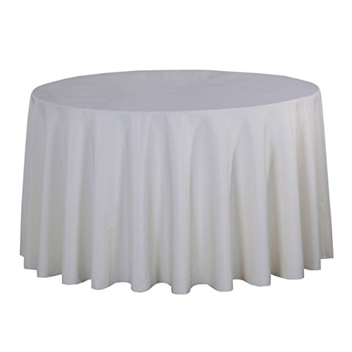 LSHEL Nappe Rectangulaire Antitache Polyester Couleur Pure Nappe Ronde Décoration De Table/Fête, Beige, Rond 200cm