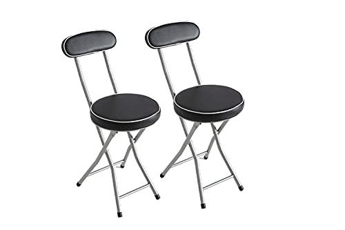 Kit Closet Lot de 2 chaises Pliantes rembourrées Noir 74 x 50 x 30 cm
