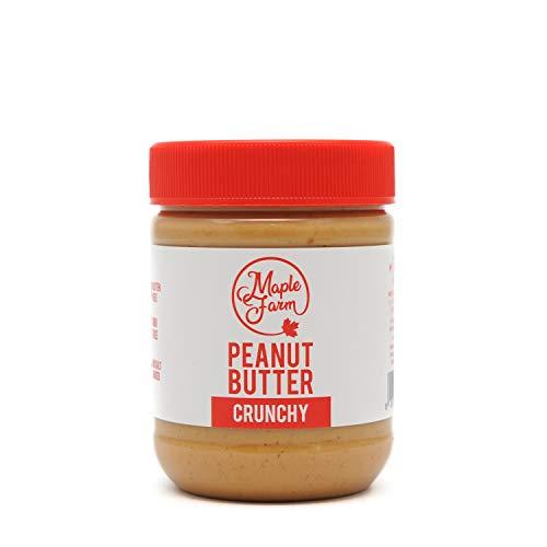 MapleFarm - Erdnussbutter Natürliche Ohne Zusätze. 325g - Erdnussmus Ohne Salz, Zucker, Palmfett - PURE PEANUT BUTTER - CRUNCHY