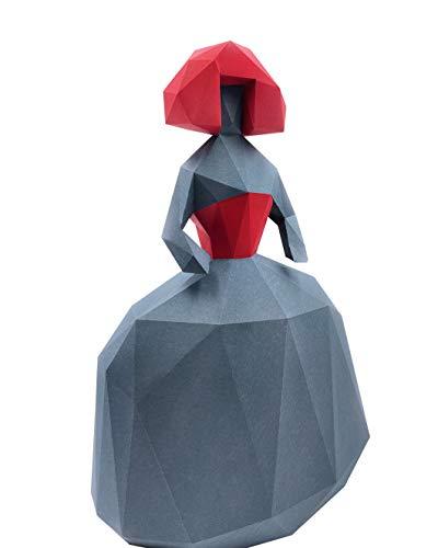 Oh Glam Home Kit DIY Menina Papercraft Kit Cartón 3D Escultura Origami 3D Puzzle 3D PRECORTADO (Gris y Rojo)