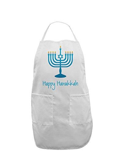 Happy Hanukkah Menorah Adult Apron - White - One-Size