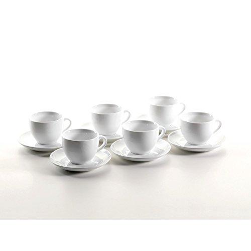 Mäser, Serie Colombia, Cappuccino-Obere 22 cl mit Cappuccino-Untere 15 cm, Porzellan Geschirr-Set für 6 Personen