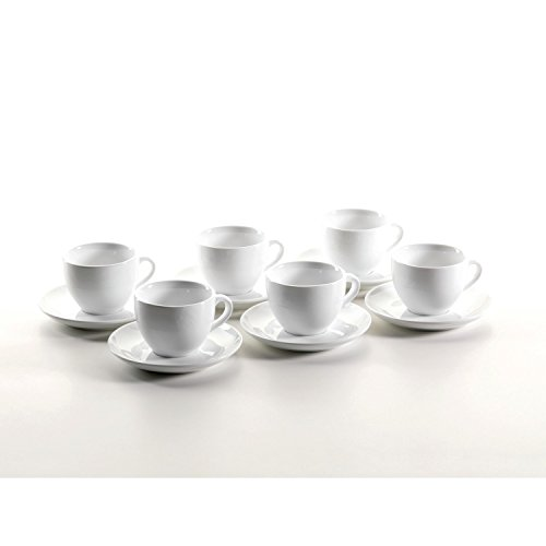 Domestic Professional by Mäser, Serie Colombia, Tazze da Cappuccino con Piattino, in un set da 6 pezzi