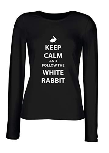 T-Shirt para Las Mujeres Manga Larga Negra FUN3841 tee Shirt Gris Keep Calm AMD Follow The White Rabbit