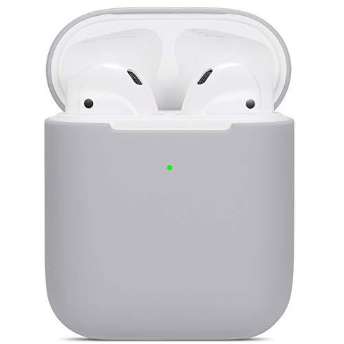 kompatibles Airpods Hülle,Watruer ultradünnes, weiches, silbernes Silikon, stoßfestes, rutschfestes Zubehör. Schutzhülle für Apple Airpods 2 & 1-Ladekoffer - Grau