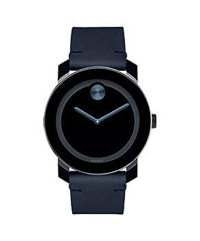Movado Bold Tr90 Stainless Steel Case Blue Dial Dark Navy Leather Strap Black Men 3600601