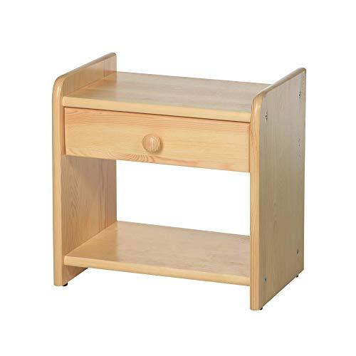 acerto 20041 Nachttisch aus Holz für Bettgestell, 41,5 x 42 cm * Robust * Pflegeleicht * 2 Ablagen | Massiver Beistelltisch für Kieferbett von acerto | Nachtschrank, Nachtkommode Kiefer mit Schublade