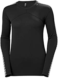 Helly Hansen W Lifa Crew, camiseta de deporte interior para dama, con mangas largas a rayas, tejido ultraligero de Lifa 100%