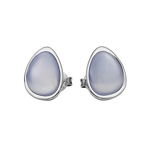 Metal Damen-Pendientes acero inoxidable calcedonia azul - 411992G0