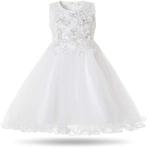 CIELARKO Girls Dress Flower Pearls Kids Party Wedding Dresses for 2 11 Years 2 3 Years White product image