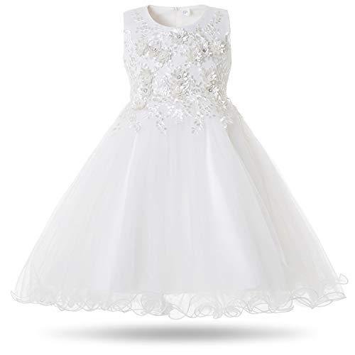 CIELARKO Mädchen Kleid Prinzessin àrmellos Blumen Hochzeits Festzug Kleid Blumenmädchen Kleider, Weiß, 4-5 Jahre
