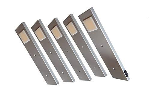 ACCE LED Unterbauleuchte Küchen Möbel Leuchte Warmweiß inkl Konverter ein Strahler mit Schalter Energieeffizienzklasse A++ (5er Set)